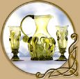 Bohemia green glass set